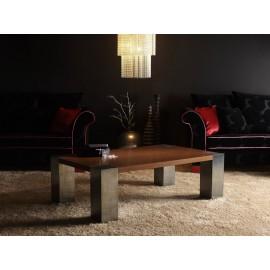 Mesa de centro CÚBICA pata 15 x 15 (wengué natural y estaño)