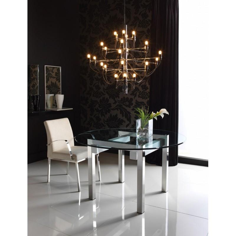Mesas de comedor redondas mesas met licas arca arte met lica - Mesa comedor cristal redonda ...