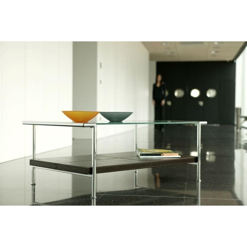 Mesa de cristal y acero mesas de centro originales arca - Mesa centro cristal y acero ...