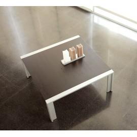 Mesa de centro SÓLIDA gris metalizado y tapa roble wengue