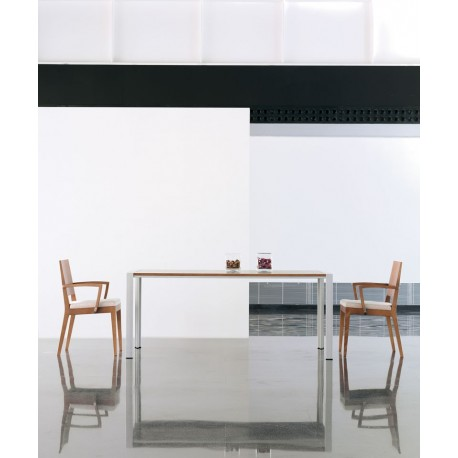 Mesa de comedor SÓLIDA gris metal, tapa roble miel