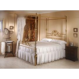 Cama LUPE con dosel (latón brillo y tallas oro francés)