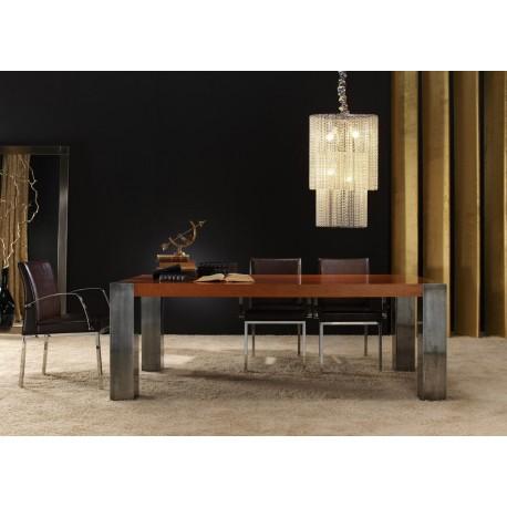 Mesa de comedor CÚBICA (cerezo patinado y estaño)