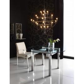 Mesa comedor TRAVIESA (a inox brillo, crucetas blanco, cristal transparente)