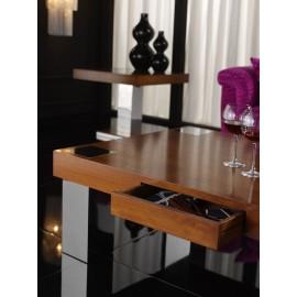 Mesa de centro DIAFANA con cajón (nogal lúcido y acero inoxidable brillo)